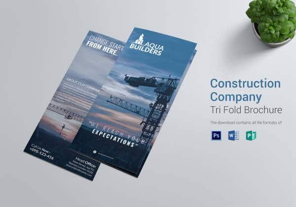 Empresa Construtora arquitetura TriFold Folheto PSD Brochura