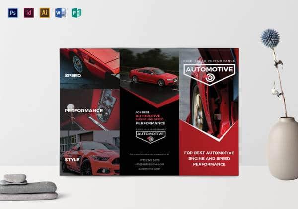 Folheto Tri-fold Automotivo esportivo