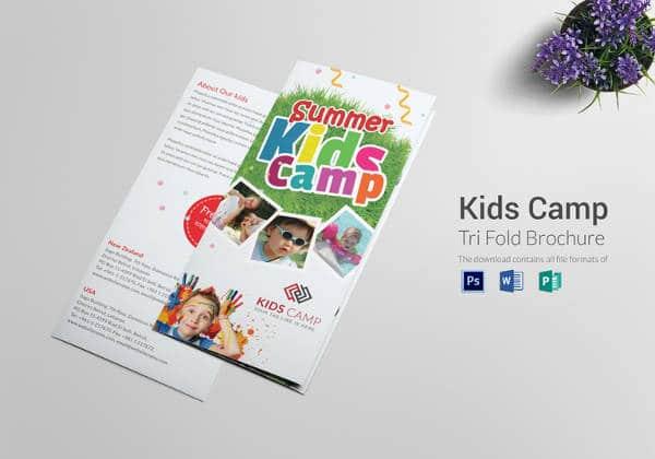Brochura templates-verão-crianças-acampamento-tri-fold