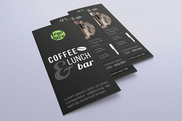 Tri Fold Template Free Download Café Almoço Bar