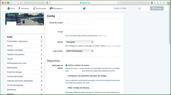 fazer autenticação na conta do twitter